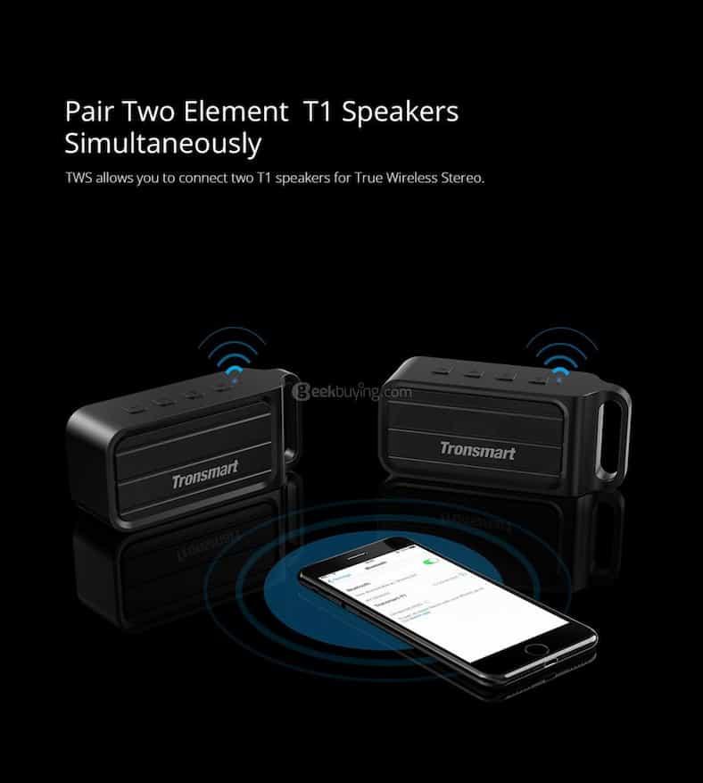 geekbuying Tronsmart Element T1 Bluetooth 4 2 Speaker Black 404722