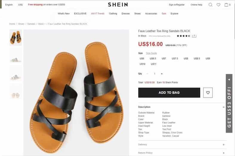 shein נעליים